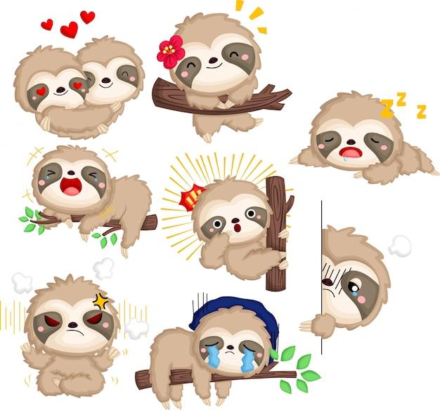 Una raccolta vettoriale di molte emozioni di bradipo in colore bianco e nero Vettore gratuito