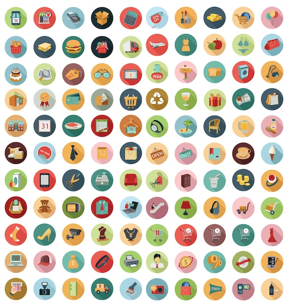 Vector collection of modern flat and colorful shopping icons Premium Vector