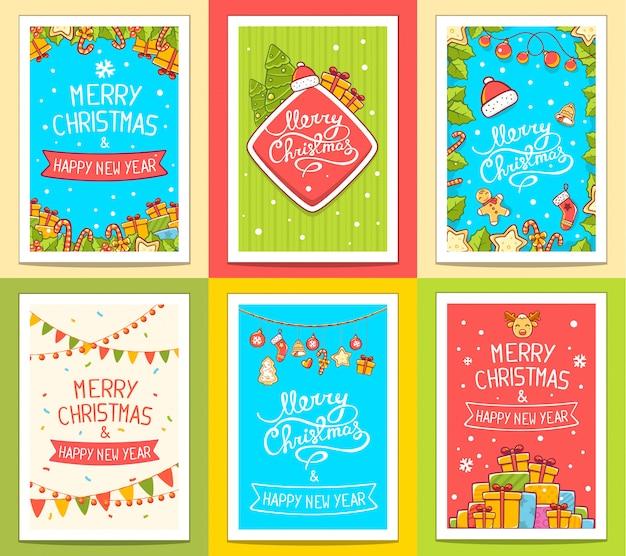 Векторная коллекция рождественских шаблонов с рукописным текстом на ярком фоне. Premium векторы