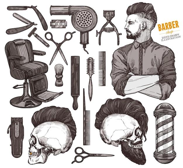 手描きのバーベキューツールと流行に敏感なモデルの男性とアクセサリーのベクトルコレクション。 Premiumベクター