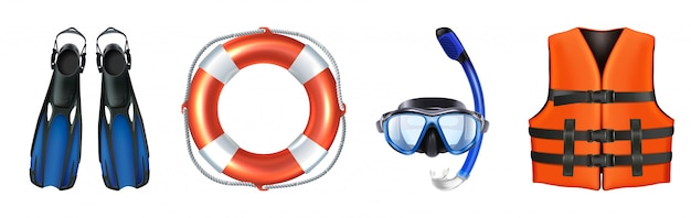 Vector collection of sea equipment for swimming, snorkeling. life vest, mask. isolated. Premium Vector