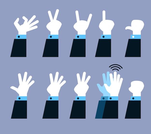 Vector collection set of flat hand gesture. Premium Vector