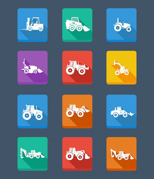 Vector collection tractor and silhouettes. icons Free Vector