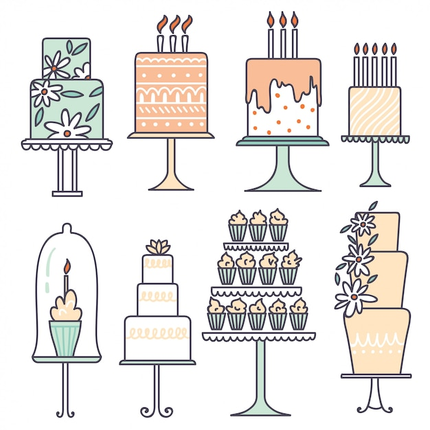 Vector collections with cakes. Premium Vector