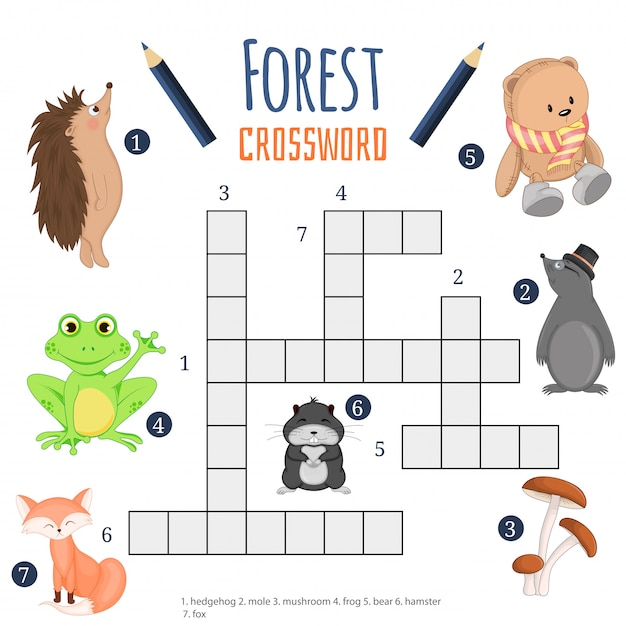 Vector color crossword, education game for children about animals Premium Vector