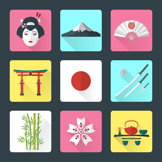 Vector color flat style japanese national theme icons with shadow set Premium Vector