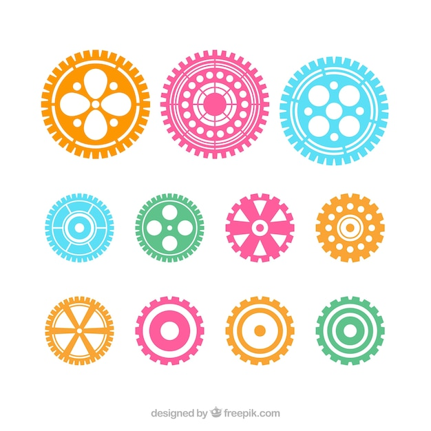 Vector color gears icons set