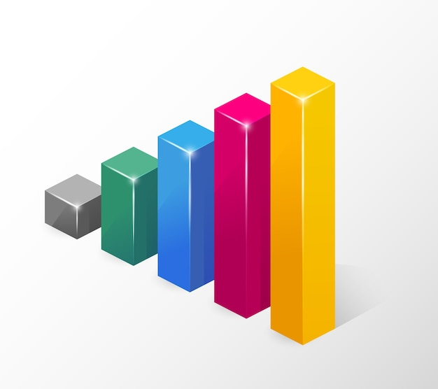 Vector colored bar chart  emphasizing growth  isolated Free Vector