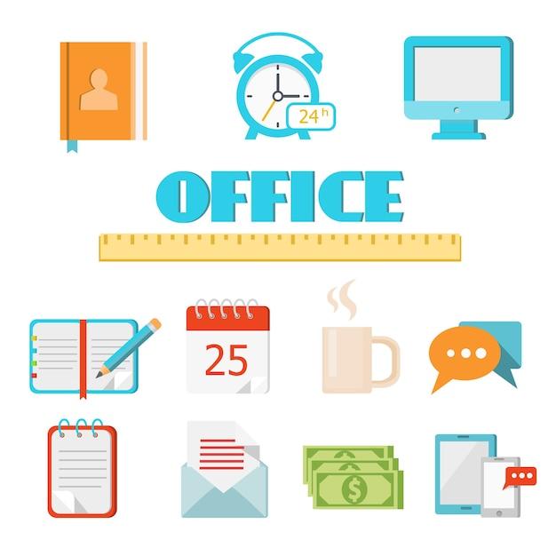 Vector colorato icona ufficio piatto impostato per il web e l'applicazione mobile Vettore gratuito
