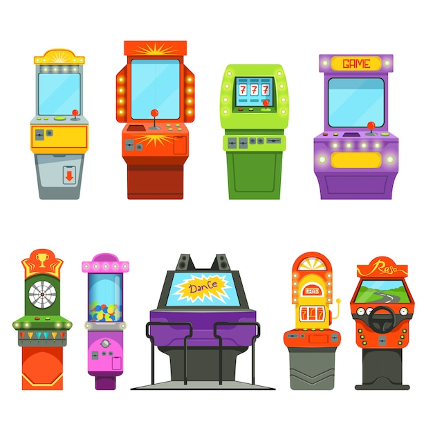Vector colored illustrations of games machines. driving simulator and different arcade games in amusement park Premium Vector