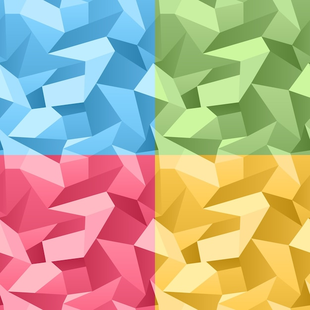 Vector colored seamless 3d crumpled crystal abstract background Free Vector