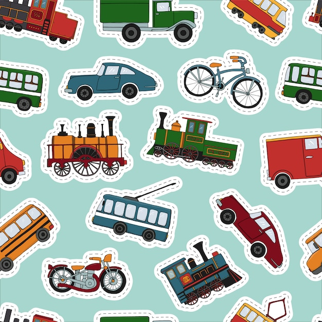 Vector colored seamless pattern of retro engines and transport stickers Premium Vector