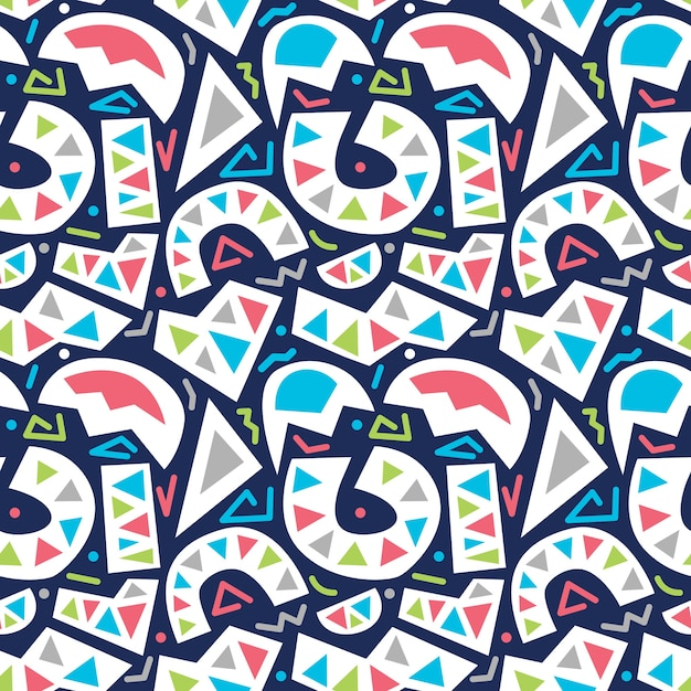 vector colorful abstract basic shapes seamless pattern isolated in blue background Premium Vector