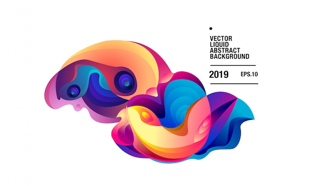 Vector colorful abstract liquid curvy background Premium Vector