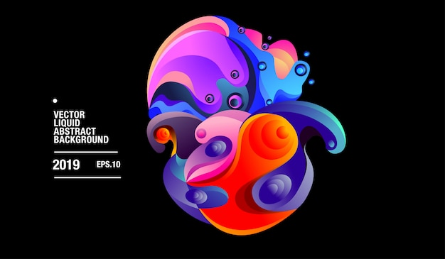 Vector colorful abstract liquid curvy background Premium Vector