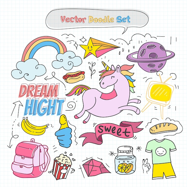 Vector colorful doodle set Premium Vector
