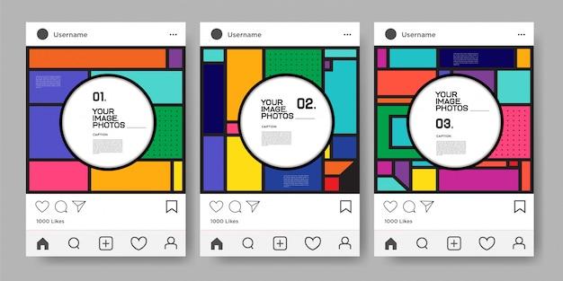 Instagram 피드에 대한 벡터 다채로운 기하학적 디자인 서식 파일 프리미엄 벡터