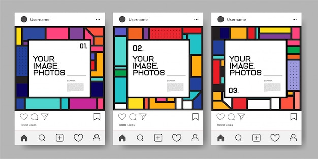 Вектор красочный геометрический шаблон дизайна для instagram feed Premium векторы