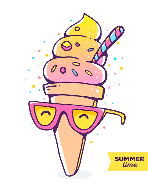 Vector colorful illustration of character gradient ice cream with glasses on white background Premium Vector