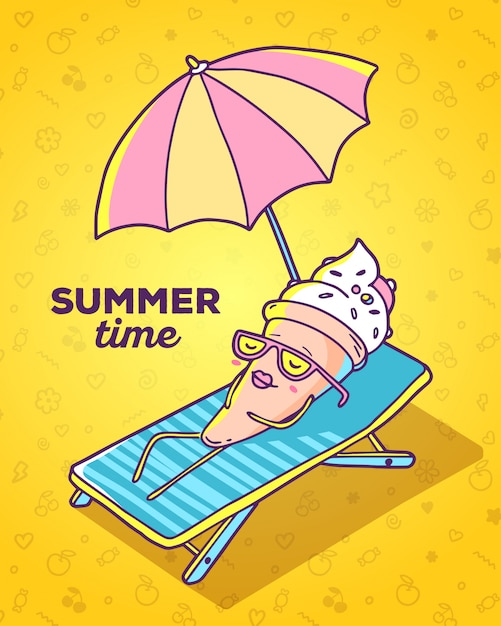 Vector colorful illustration of character ice cream with glasses lying on sun lounger and sunbathe on yellow background Premium Vector