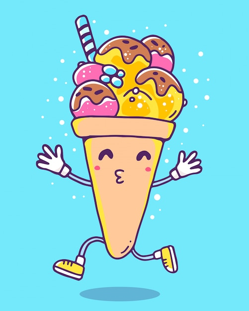 Vector colorful illustration of character ice cream with legs and hands on blue background Premium Vector