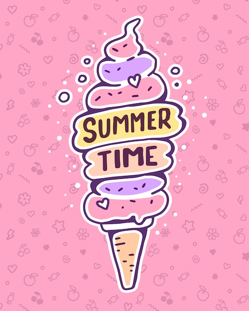 Vector colorful illustration of very high ice cream with inscription on pink background. summer time Premium Vector