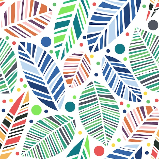 vector colorful leaves seamless pattern isolated in white background Premium Vector