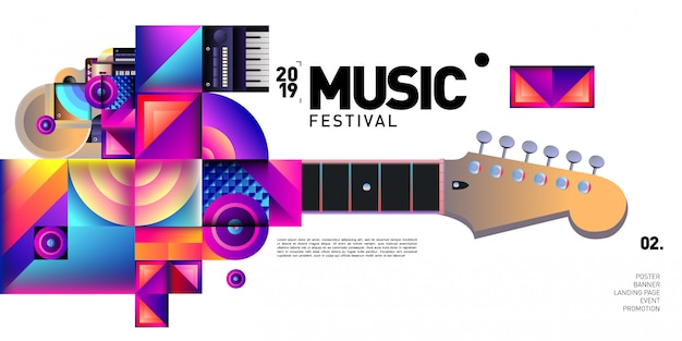 Vector colorful music festival for event banner and poster Premium Vector