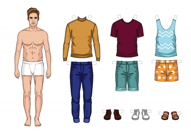 Vector colorful set of fashionable men's outfits isolated. cartoon style guy paper doll with summer clothes Premium Vector