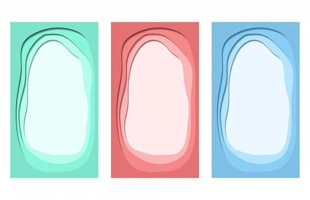 Vector colorful trendy paper cut set of background for social media Premium Vector