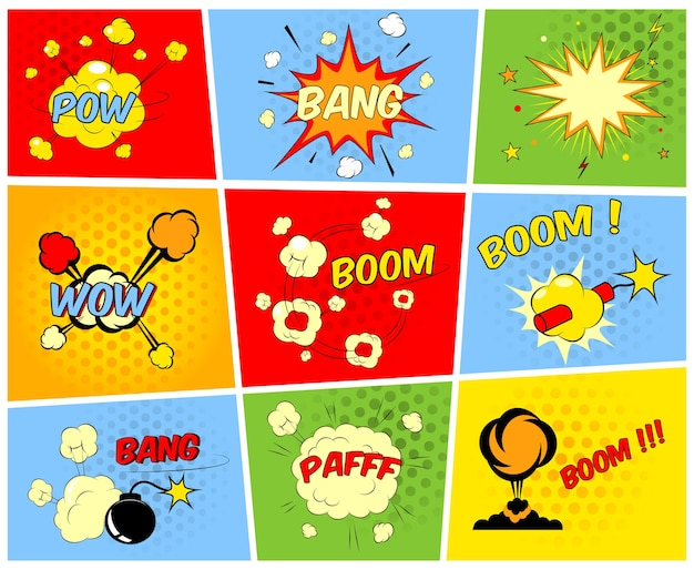 Vector comic boom or blast explosions and comic sound effects set Free Vector