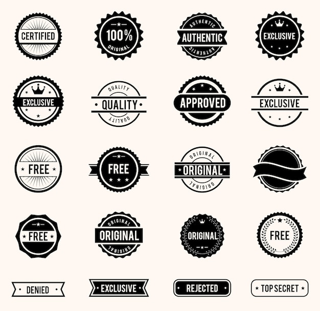 Vector commercial stamps set in vintage style for business and design Free Vector