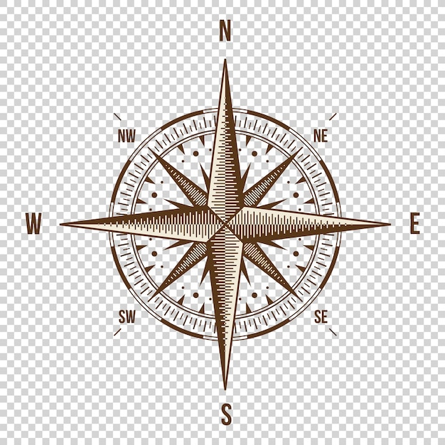 Vector compass. high quality illustration. old style. Premium Vector