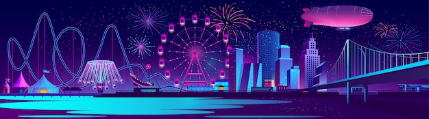 Vector concept background with night city Free Vector