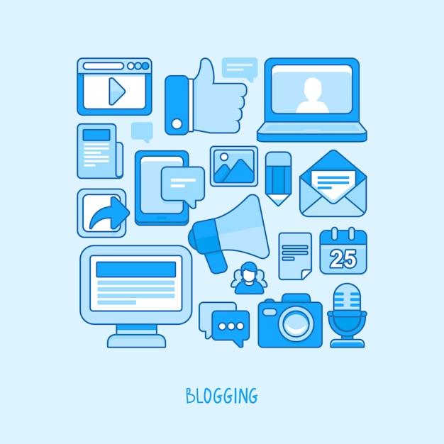 Концепция вектора - ведение блога и запись для веб-сайта Premium векторы