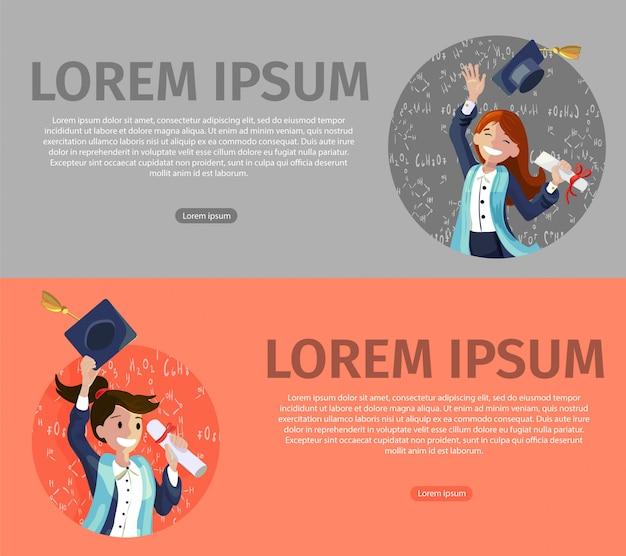 Вектор концепция иллюстрация мультфильм счастливые студенты Бесплатные векторы