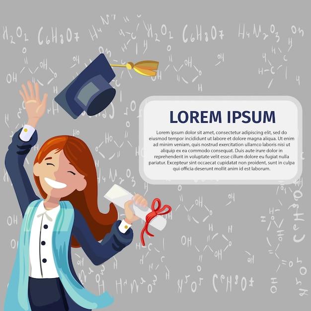 Vector concept illustration cartoon happy students Premium Vector