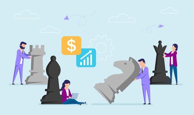 큰 체스 조각을 이동하는 실업가의 평면 스타일에서 벡터 개념 그림. 작업 전략, 사업 계획 개념. 프리미엄 벡터