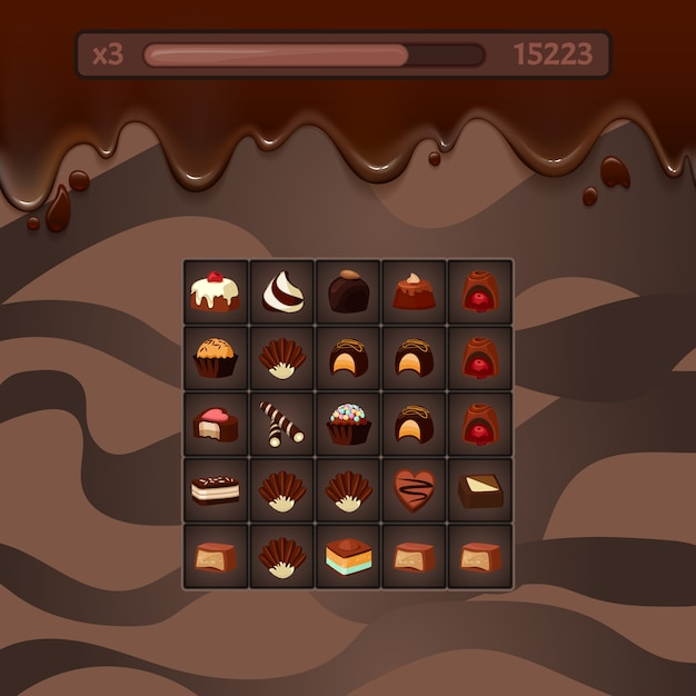 Vector concept illustration of three in a row casual game mockup with chocolate candies, streaks, life and score points Premium Vector