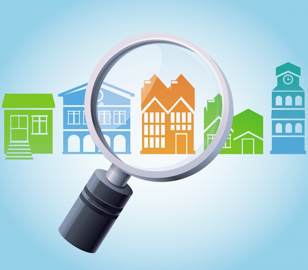 Vector concept - magnifying glass and home Premium Vector