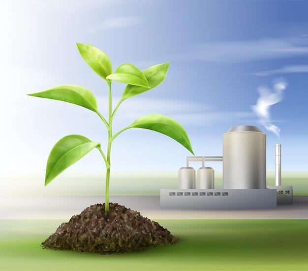 Векторный концепт обработки природных ресурсов для биотоплива Бесплатные векторы