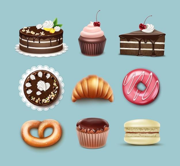 Set di pasticceria di vettore torta sfoglia al cioccolato, croissant francese, pretzel, cupcake con panna montata e ciliegia, muffin, macaron top, vista laterale isolata su sfondo blu Vettore gratuito