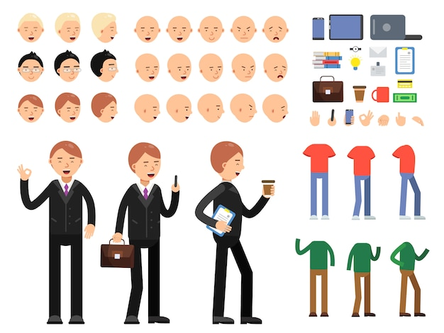 Vector constructor of business characters. men in costume with different emotions and poses Premium Vector