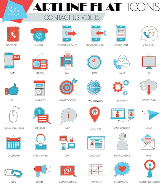 Vector contact us ultra modern outline artline flat line icons Premium Vector