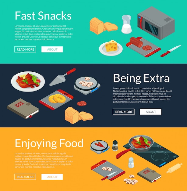 Vector cooking food isometric banners illustration. 3d meal Premium Vector