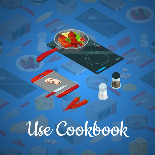 Vector cooking food isometric blue illustration Premium Vector