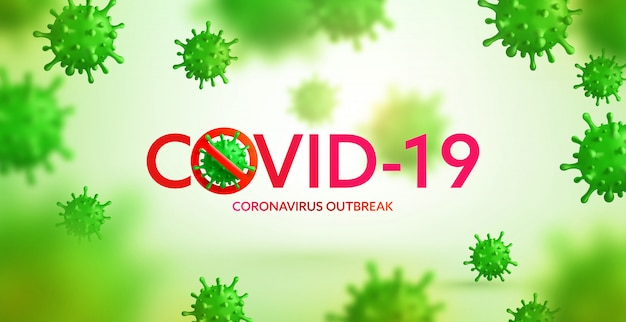 Vector of coronavirus 2019-ncov and virus background with disease cells. stop covid-19 corona virus outbreaking concept Premium Vector