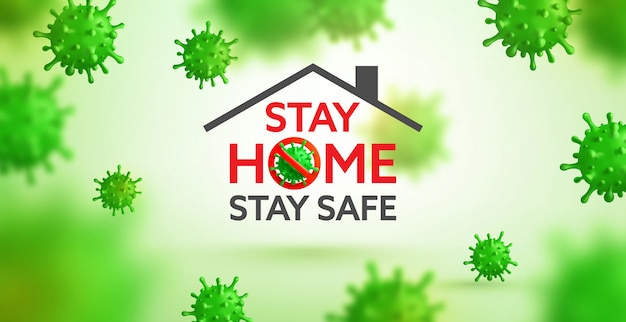 Vector of coronavirus 2019-ncov and virus background with disease cells. stop covid-19 corona virus outbreaking, stay home and stay safe concept Premium Vector