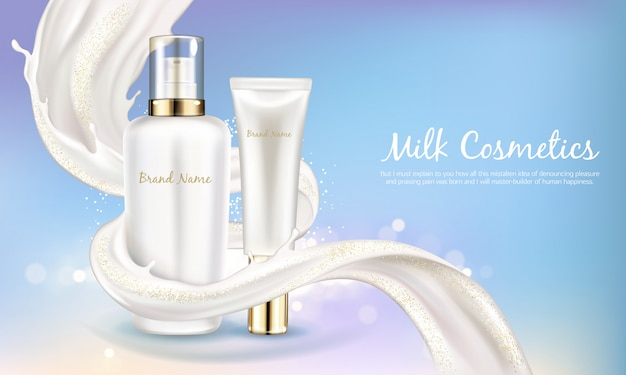 Vector cosmetic banner with realistic white bottle for skin care cream or body lotion. Free Vector