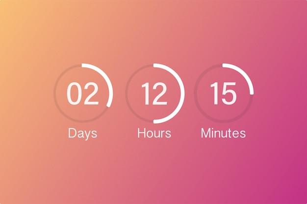 Vector countdown clock counter timer. ui app digital count down circle board meter with circle time pie diagram. Premium Vector